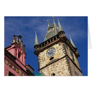 Church Clock Tower Old Town Prague Greeting Card