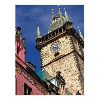 Church Clock Tower Old Town Prague Postcard