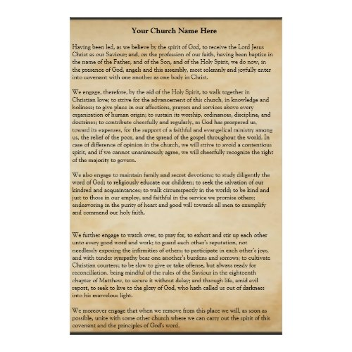 Church Covenant Poster