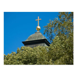 Church cross and blue sky postcard