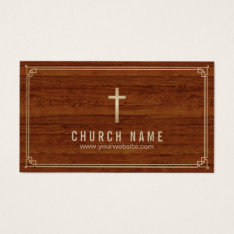 Church Cross Gold Framed Elegant Wood Pastor Business Card at Zazzle