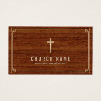 Church Cross Gold Framed Elegant Wood Pastor Business Card