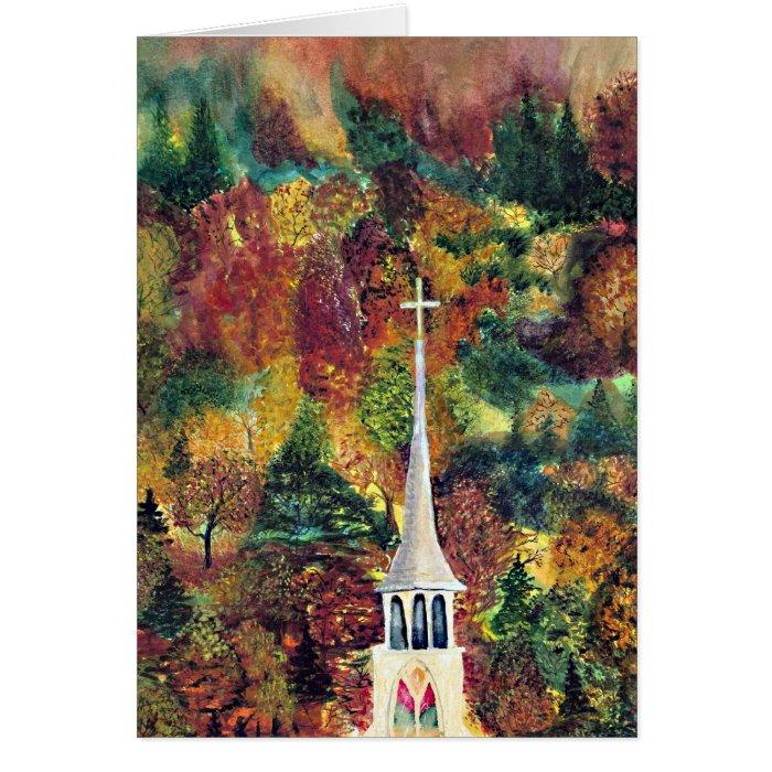 Church Cross Vermont Autumn Watercolor art Card
