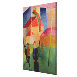Church Decorated with Flags Canvas Print