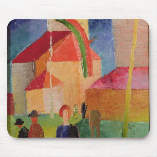 Church Decorated with Flags Mouse Pad