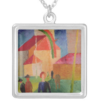 Church Decorated with Flags Silver Plated Necklace