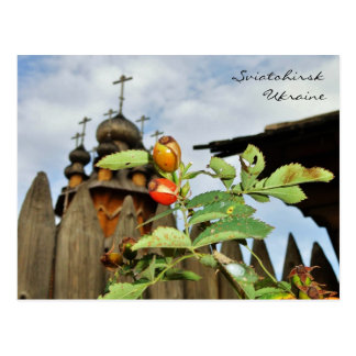 Church Domes and Rose Hips in Ukraine Postcard