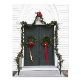 Church Door at Christmas Postcard