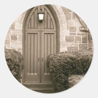 Church Door Classic Round Sticker