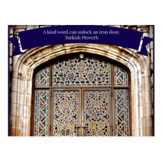 Church Door & Kindness Proverb Postcard