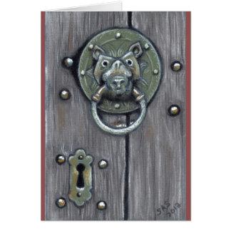 """Church Door Knocker"" greeting card"