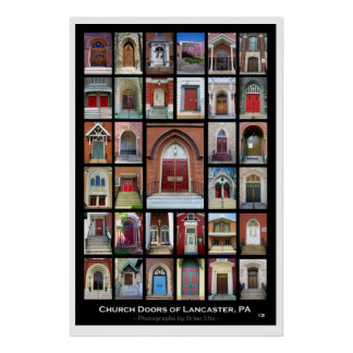 """""""Church Doors of Lancaster, Pa"""" 2nd ed. Poster"""