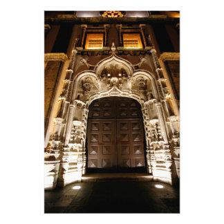 Church doorway at night photo print