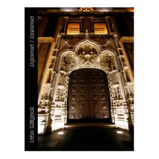 Church doorway at night post card
