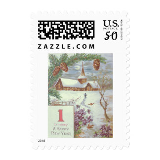 Church Evergreen Bough Pinecone Violets Postage