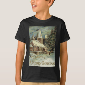 Church Evergreen Stars Winter Snow T-Shirt