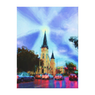 Church Fighting The Darkness Wrapped Canvas Print