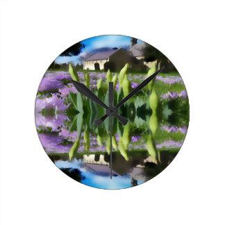 Church flowers in reflection wall clocks