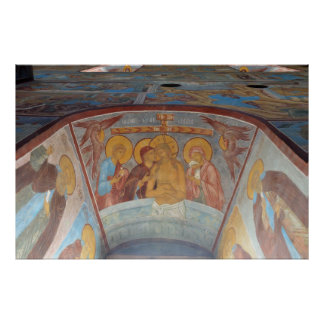 Church frescoes in old Russian town Rostov Poster