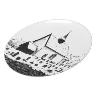 church & graveyard in winter ink landsape drawing dinner plate