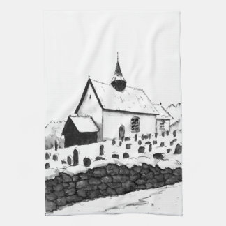 church & graveyard in winter ink landscape drawing hand towel