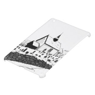 church & graveyard in winter ink landscape drawing iPad mini case