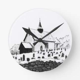 church & graveyard in winter ink landscape drawing round clock