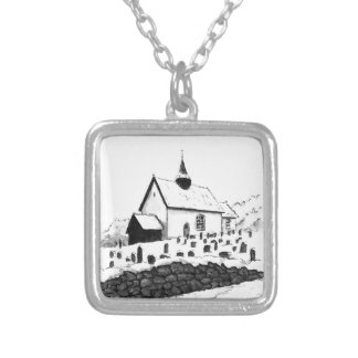 church & graveyard in winter ink landscape drawing silver plated necklace