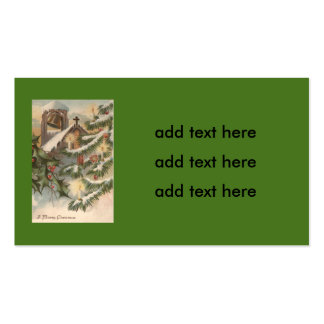 Church Holly Christmas Tree Candle Ornament Double-Sided Standard Business Cards (Pack Of 100)
