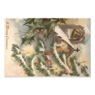 Church Holly Christmas Tree Candle Ornament Photo Print