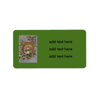 Church Holly Four Leaf Clover Gold Horseshoe Label