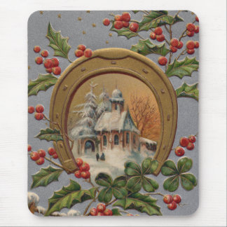 Church Holly Four Leaf Clover Gold Horseshoe Mouse Pad
