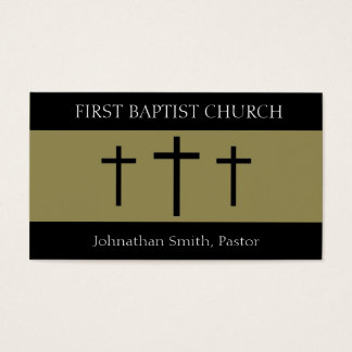 Church Holy Trinity Three Crosses Black Gold Business Card