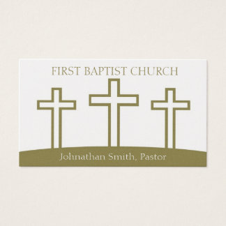 Church Holy Trinity Three Crosses Crucifixes Gold Business Card