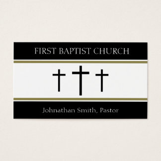 Church Holy Trinity Three Crosses Gold Stripes Business Card