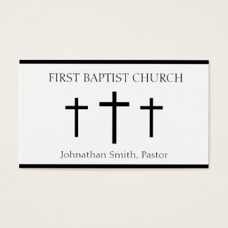 Church Holy Trinity Three Crosses White Black Business Card