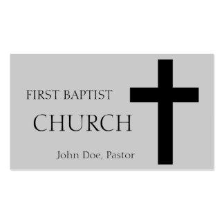Church Horizontal Silver/Black Business Card Templates