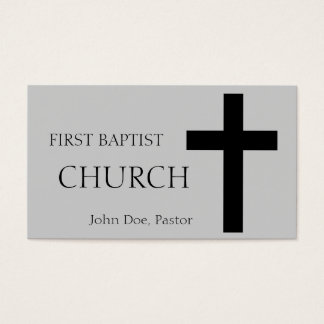 Church Horizontal Silver/Black Business Card