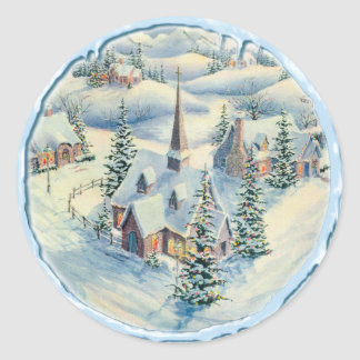CHURCH & ICICLES by SHARON SHARPE Classic Round Sticker