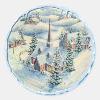 CHURCH & ICICLES by SHARON SHARPE Round Sticker