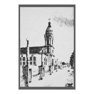 Church image in charcoal poster