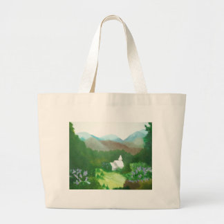 church in a valley tote bags