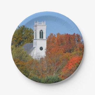 Church In Autumn Paper Plate