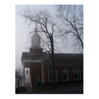 Church In Fog With Tree Post Card