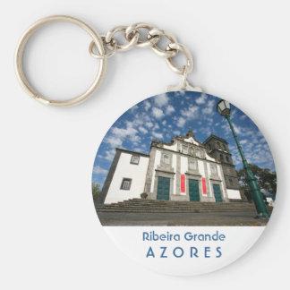 Church in Ribeira Grande Basic Round Button Keychain