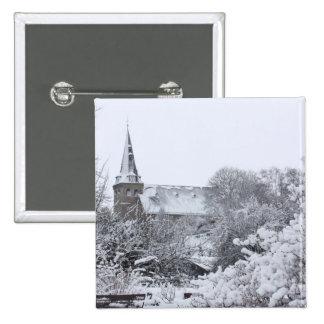 church in snow 2 inch square button