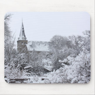 church in snow mouse pad