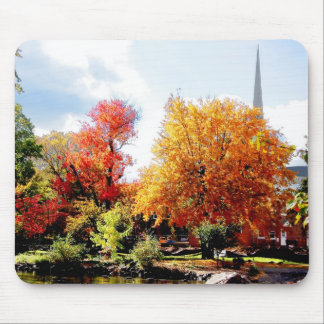 Church in the Distance in Autumn Mousepad
