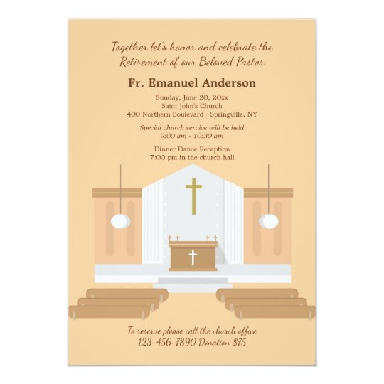 church interior retirement party invitation zazzle com