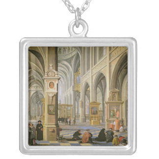 Church interior silver plated necklace